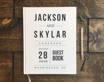 Modern Hipster Wedding Guestbook. Infographic Wedding Guest Book. Wedding Journal. Wedding Book. Keepsake. Wedding Gift. Wedding Guestbook