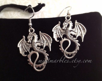 Silver Dragon Dangle Earrings. Silver Dragons. Fire Breather. Antique Gold. Mystical. Magic. Fantasy. Under 20 Gifts