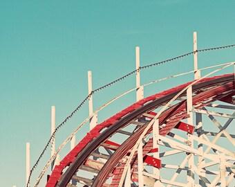 Vintage Rollercoaster Santa Cruz Beach Boardwalk Photograph, Teal Blue Sky, Red White Roller Coaster Retro Nursery Art, Beach Photography