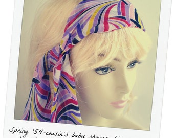 Colorful Abstract Head Scarf, Deco Art Head Scarf, 1920's Head Scarf, 1960's Head Scarf, Lavender Print Scarf