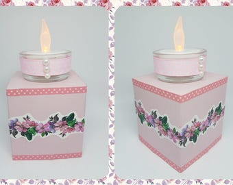 Square candle holder handcrafted reclaimed wood - flowers and pink theme.