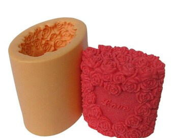3D Heart Roses Candle Mold Soap Moulds Flexible Silicone Mould Resin Crafts mold bar soap mold Chocolate mold Plaster mold candy mold