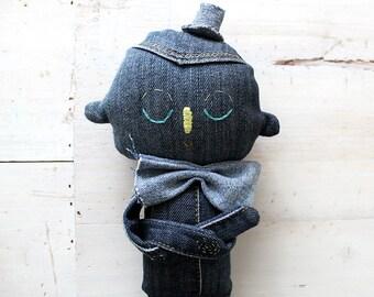 Textile Soft Sculpture Denim Character OOAK Art Doll No.1