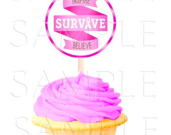 Breast Cancer 2.5 Inch Cupcake Toppers,Round Buttons, Printable Cupcake Toppers,Buttons,Favor Tags,Digital Download,DIY Printable,Stickers
