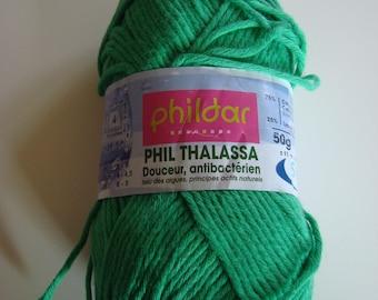 Pincushion cotton 50 g Phil Thalassa of Phildar - Z106 Mint - needles No. 4