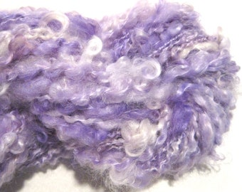 Mini Skein Lockspun Super Bulky pale purple handspun yarn 40 yards mohair locks spiral art yarn knitting supplies crochet supplies doll hair