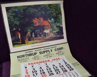 1956 Calendar, Paul Detlefsen, Horse and Buggy Days, Northrup Supply Corp