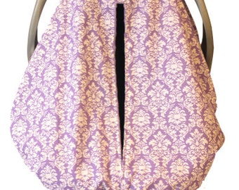 Lavender Petite Damask Car Seat Kover with Lavender Minky Interi