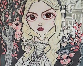 The White Queen Alice Fantasy Fairytale Lowbrow Pop Surrealism Art Print