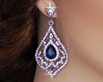 Blue Sapphire Bride Earrings Party Bridal Dangle Earrings Wedding Accessories Accessory Jewelry Drop Brides Crystal Earrings 109
