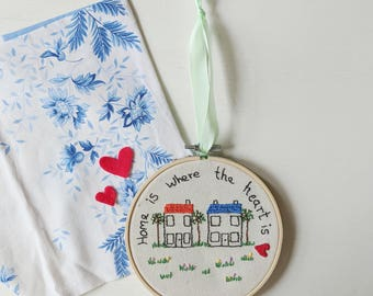 Home Is Where The Heart Is Hoop Art | Hand Embroidered | New Home | House Warming | Embroidered Text | Wall Hanging | Home Decor | Gift |