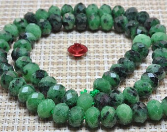 Natural Green Zoisite faceted Rondelle beads in 5x7mm 12pcs