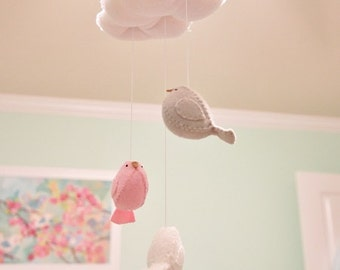 Baby mobile -  nursery decoration in pink grey and white