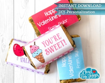 Valentines for Kids, Mini-Chocolate Bar Wrappers, Candy Wrapper, PERSONALIZED. Stickers. Chocolate Labels, Printable {INSTANT DOWNLOAD}