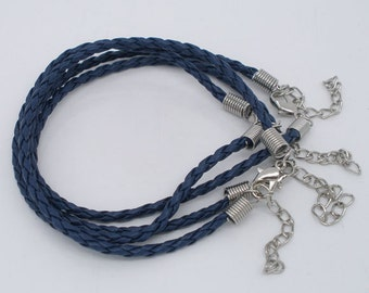 "20 ROYAL BLUE Leatheroid Bracelet Braided Cords with Lobster Clasp . 8"" long plus 2"" extender chain fch0021"