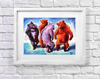 """Bear Painting, Bear Art Print, 'The Other Thing Bears Do in the Woods', 8x10"""", from Original Painting by Tod C Steele"""