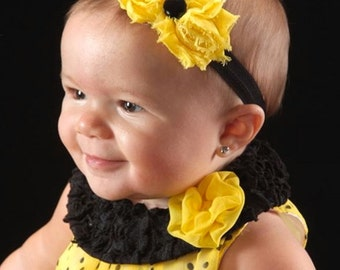 SALE Yellow & Black Petite Shabby Chic Flower Headband, Bumble Bee Headband, Baby Headband, Toddler Headband, Girls Headband, Hair Bow