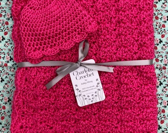 Crochet Baby Blanket with Matching Hat - Watermelon