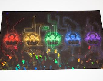 Mario Mushrooms x Tron - 8x5 Holographic Print [ Mario / Tron / Space Invaders / Fan Art ]