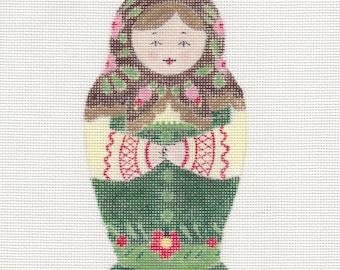 Handpainted needlepoint canvas Matryoshka Doll