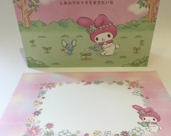 My Melody planting flowers pop up birthday card with pink envelope
