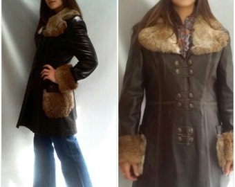70s Penny lane coat / brown leather / Fur collar cuffs / Vintage 1970s / s / m /