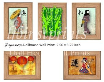 Dollhouse Wall Prints, Dollhouse Wall Art, Dollhouse Supply, Dollhouse DIY, Doll House Printable, Doll House Japanese Wall Prints