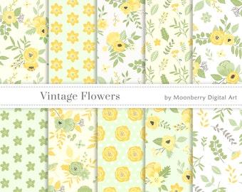 """Floral Digital Paper """"VINTAGE FLOWERS""""  Floral Papers, Garden Papers, Flowers Digital Papers, Floral Digital Papers, Spring Digital Papers"""