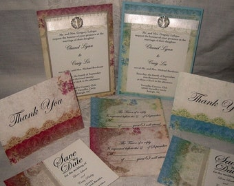 Wedding Sale Lace Wedding Invitations, Collection Set French Market Elegant Package Shabby Chic, Haute Couture