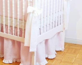 Linen Crib  bedding - gathered skirt  light pink with white  ruffle ,  - Girl Nursery bedding