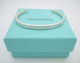 Tiffany & Co. Sterling Silver 1837 Collection Narrow Cuff Bracelet Medium Size