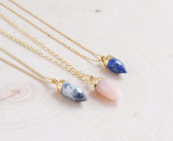 Gold Gemstone Opal Necklace
