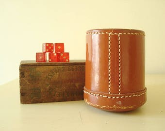 Vintage leather dice cup & red cherry juice dice, dice game, made in Hong Kong, man cave, bar accessory, gift for guys, heavy leather cup