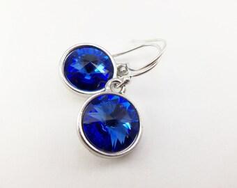Sapphire Earrings Sterling Silver Sapphire Crystal Sapphire Birthstone Earrings September Birthday Dangle Drop Earrings