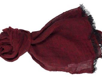 Dark red linen scarf, linen shawl, red wine color linen scarf, softened linen scarf, long linen scarf, women linen scarf, shawl in gift box