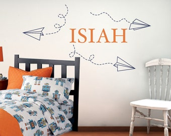 Boys Name Decals, Paper Airplane Wall Decals, Personalized Name Decals, Airplane Wall Stickers, Boys Bedroom Decor, Name with Paper Airplane
