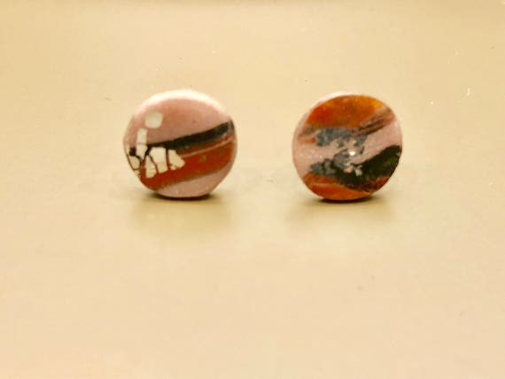 SJC10033 - Earrings - contemporary handmade pink/red/black/silver polymer clay sterling silver studs