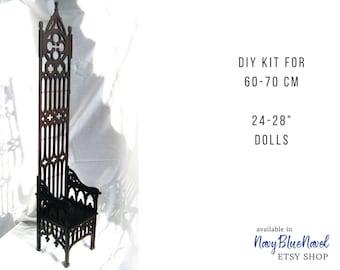 "Gothic THRONE for 60-70 cm (24-28"") doll PRE-ORDER diy doll furniture kit dollhouse furniture laser cut unpainted bjd bench sd armchair"