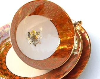Teacup, saucer and desert plate 3 piece trio Alka-Kunst Alboth & Kaiser Bavaria Germany vintage German porcelain gift for her Thanksgiving