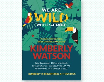 Jungle baby shower invitation, safari baby shower printable invite, birds of paradise invitation, editable PDF