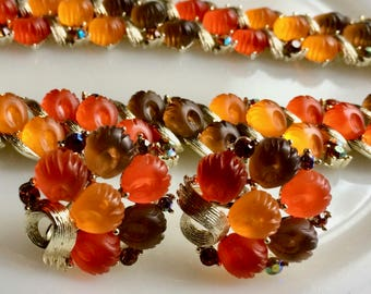 Vintage Lisner Jellied Fruit Demi-Parure - Fall Colors - Molded Glass - Bracelet - Necklace - Earrings - AB RHinestones