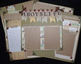 A Boy's Life 12x12 Premade Scrapbook set of 7 layouts