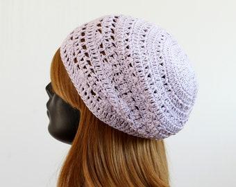 Women's crochet spring/summer slouchy beanie, lace tam beret,boho hat, festival beanie, casual hat, sun protection, 100% cotton,pastel lilac