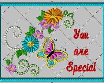 """Machine Embroidery Design-ITH-Mug Rug-""""You are Special"""" with Butterfly and Flowers includes 2 sizes, 5x7 and 6x10 hoops"""