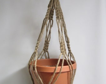 Macrame Plant Hanger Natural heavy Jute Vintage Style 28 inch