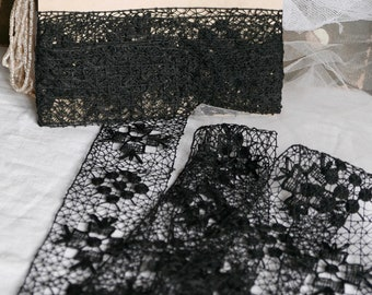 Antique Maltese Lace Vintage Black Lace Trim Edging French Haberdashery 4.3yd Old New Stock Goth /Steampunk