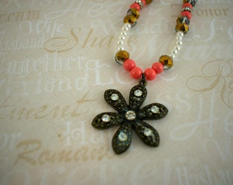 Bronze and coral colored flower necklace