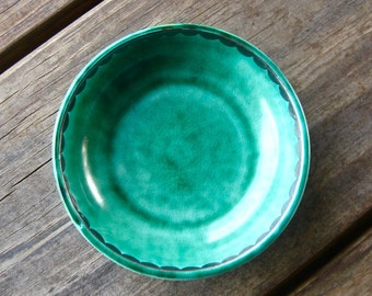 Turquoise Gustavsberg Argenta Pottery Bowl with Silver Overlay, Vintage Art Pottery from Sweden, Mid Century Style, Cottage Chic