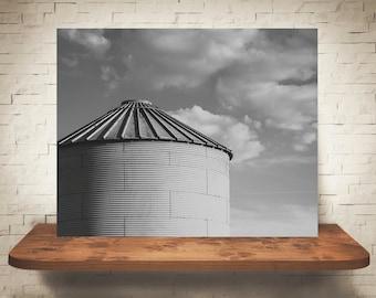 Silo Photograph - Fine Art Print - Black & White Photography - Wall Art - Wall Decor -  Farm Pictures - Farmhouse Decor - Clouds