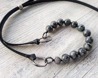 Gemstone choker / Labradorite choker / Adjustable gemstone necklace / Beaded choker / Labradorite necklace / Black choker / Leather necklace